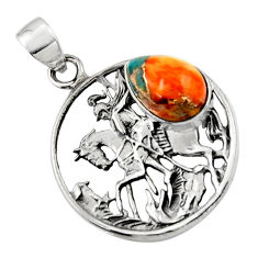 4.86cts spiny oyster arizona turquoise 925 silver unicorn pendant jewelry r52748