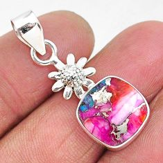 6.22cts spiny oyster arizona turquoise 925 sterling silver flower pendant r93294