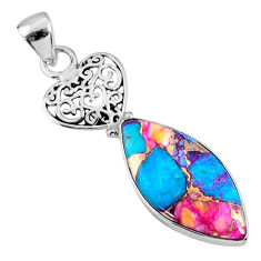 12.58cts spiny oyster arizona turquoise 925 sterling silver heart pendant r62519