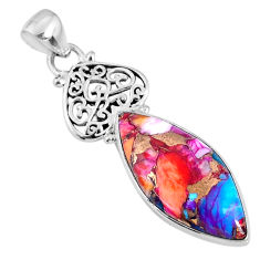 13.70cts spiny oyster arizona turquoise 925 sterling silver heart pendant r62520