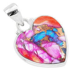 12.58cts spiny oyster arizona turquoise 925 sterling silver heart pendant r93424