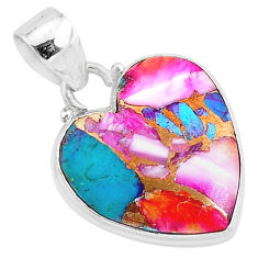 12.58cts spiny oyster arizona turquoise 925 sterling silver heart pendant r93428