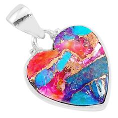 12.22cts spiny oyster arizona turquoise 925 sterling silver heart pendant r93430
