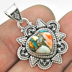 5.10cts spiny oyster arizona turquoise 925 sterling silver heart pendant t56045