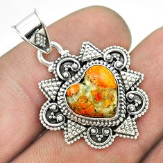 5.36cts spiny oyster arizona turquoise 925 sterling silver heart pendant t56062