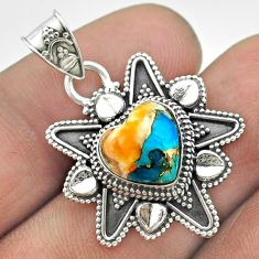 5.35cts spiny oyster arizona turquoise 925 sterling silver heart pendant t56091