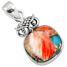 12.68cts spiny oyster arizona turquoise 925 sterling silver owl pendant r47868