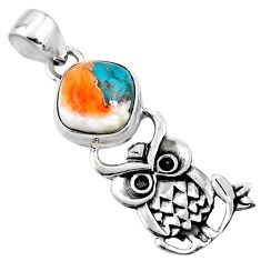 5.11cts spiny oyster arizona turquoise 925 sterling silver owl pendant r52906