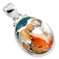 14.80cts spiny oyster arizona turquoise 925 sterling silver pendant r47718