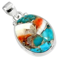 15.82cts spiny oyster arizona turquoise 925 sterling silver pendant r47736