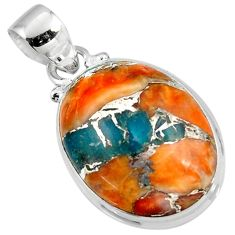 13.75cts spiny oyster arizona turquoise 925 sterling silver pendant r47740