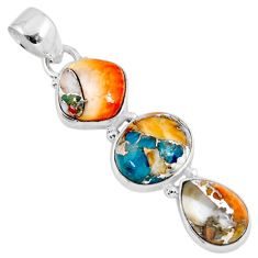 15.20cts spiny oyster arizona turquoise 925 sterling silver pendant r56184