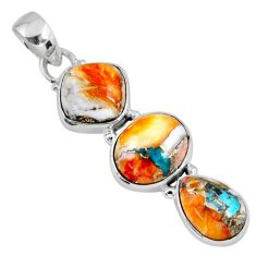 14.72cts spiny oyster arizona turquoise 925 sterling silver pendant r56192