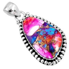 17.22cts spiny oyster arizona turquoise 925 sterling silver pendant r62541