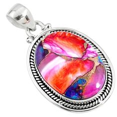 16.70cts spiny oyster arizona turquoise 925 sterling silver pendant r62549