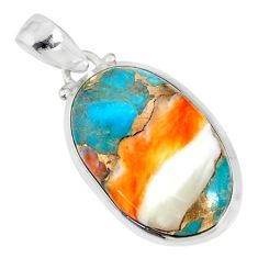 15.26cts spiny oyster arizona turquoise 925 sterling silver pendant r81173