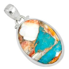 14.22cts spiny oyster arizona turquoise 925 sterling silver pendant r81180