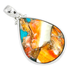 19.45cts spiny oyster arizona turquoise 925 sterling silver pendant r81185
