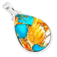 17.24cts spiny oyster arizona turquoise 925 sterling silver pendant r81203