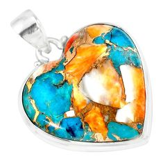 18.15cts spiny oyster arizona turquoise 925 sterling silver pendant r83203
