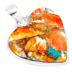 20.07cts spiny oyster arizona turquoise 925 sterling silver pendant r83205