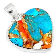 17.18cts spiny oyster arizona turquoise 925 sterling silver pendant r83222