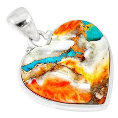 16.20cts spiny oyster arizona turquoise 925 sterling silver pendant r83223