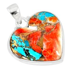 16.28cts spiny oyster arizona turquoise 925 sterling silver pendant r83243