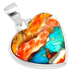15.05cts spiny oyster arizona turquoise 925 sterling silver pendant r83247