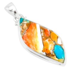 15.05cts spiny oyster arizona turquoise 925 sterling silver pendant r83422