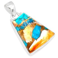11.20cts spiny oyster arizona turquoise 925 sterling silver pendant r83423