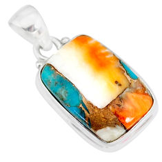 12.58cts spiny oyster arizona turquoise 925 sterling silver pendant r83426