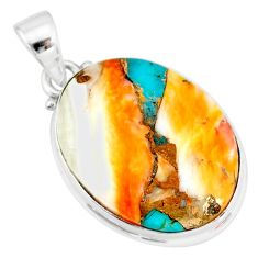 14.65cts spiny oyster arizona turquoise 925 sterling silver pendant r83428