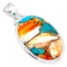 15.08cts spiny oyster arizona turquoise 925 sterling silver pendant r83432