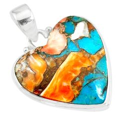13.65cts spiny oyster arizona turquoise 925 sterling silver pendant r86281