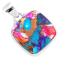 14.07cts spiny oyster arizona turquoise 925 sterling silver pendant r93472
