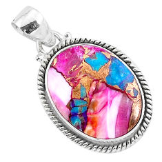 14.18cts spiny oyster arizona turquoise 925 sterling silver pendant r93489