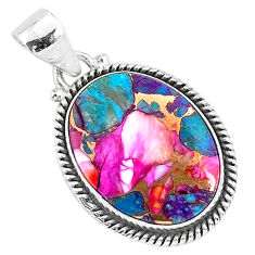 14.12cts spiny oyster arizona turquoise 925 sterling silver pendant r93495
