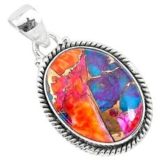 13.70cts spiny oyster arizona turquoise 925 sterling silver pendant r93498