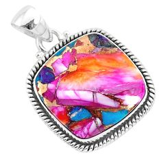 16.20cts spiny oyster arizona turquoise 925 sterling silver pendant r93501