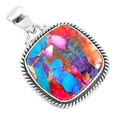 14.68cts spiny oyster arizona turquoise 925 sterling silver pendant r93503