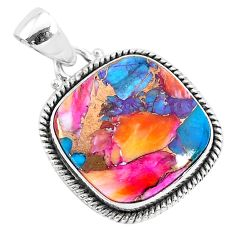 15.22cts spiny oyster arizona turquoise 925 sterling silver pendant r93511
