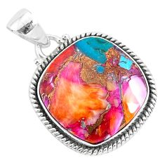 14.12cts spiny oyster arizona turquoise 925 sterling silver pendant r93512