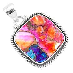 15.67cts spiny oyster arizona turquoise 925 sterling silver pendant r93517