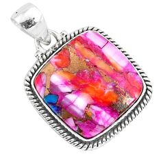 17.22cts spiny oyster arizona turquoise 925 sterling silver pendant r93519