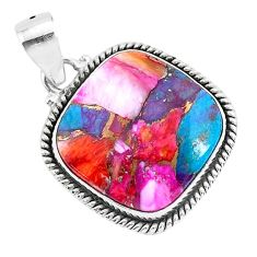 15.67cts spiny oyster arizona turquoise 925 sterling silver pendant r93520