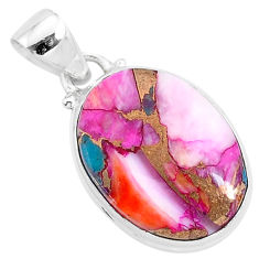 11.17cts spiny oyster arizona turquoise 925 sterling silver pendant r93522