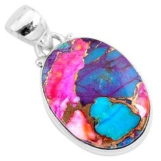 11.23cts spiny oyster arizona turquoise 925 sterling silver pendant r93538
