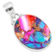 11.57cts spiny oyster arizona turquoise 925 sterling silver pendant r93539
