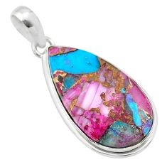 14.12cts spiny oyster arizona turquoise 925 sterling silver pendant t32282